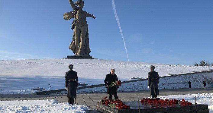 الرئيس الروسي فلاديمير بوتين خلال زيارة عمل إلى فولغوغراد