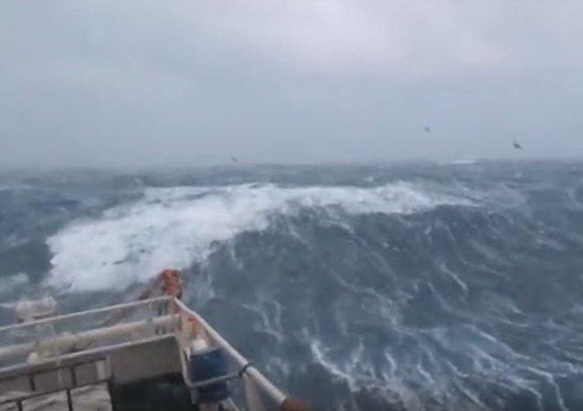 سفينة تصارع أمواج بحر الشمال