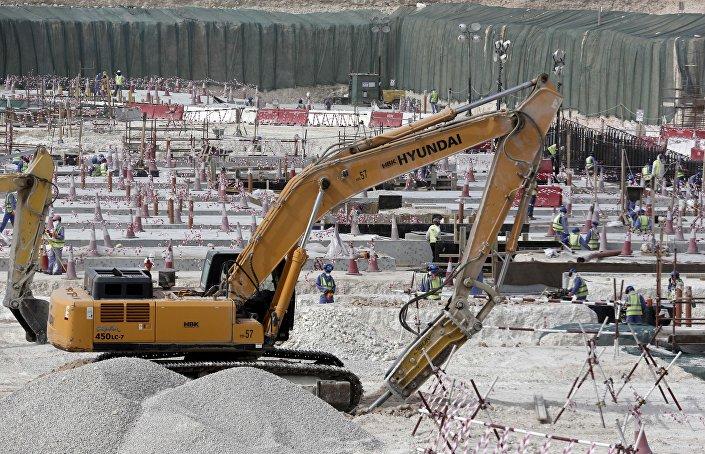 جانب من إنشاءات ملاعب مونديال قطر 2022