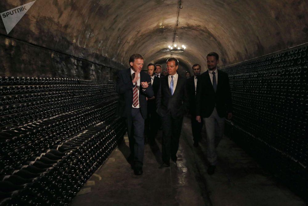 بوريس تيتوف زعيم الحزب السياسي حزب النمو، ومرشح للانتخابات الرئاسية الروسية لعام 2018، مع رئيس الحكومة الروسية دميتري ميدفيديف خلال تفقدهما لقبو النبيذ أبراو-ديورسو