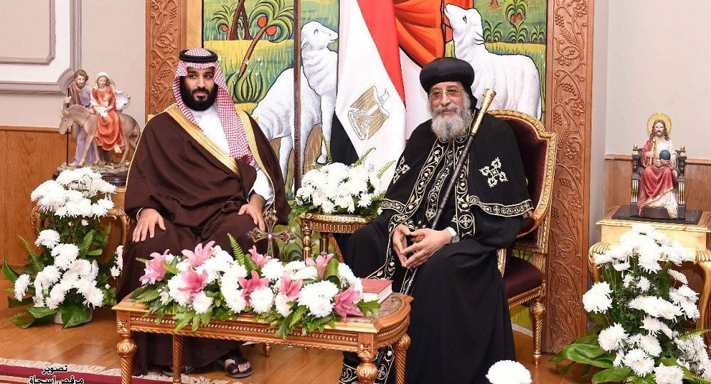 محمد بن سلمان خلال لقائه البابا تواضروس الثاني في الكاتدرائية
