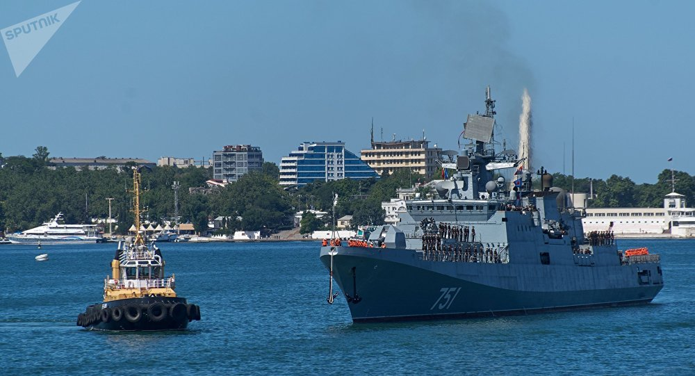 Admiral Essen arrives in Sevastopol following combat operations near the coast of Syria. File photo