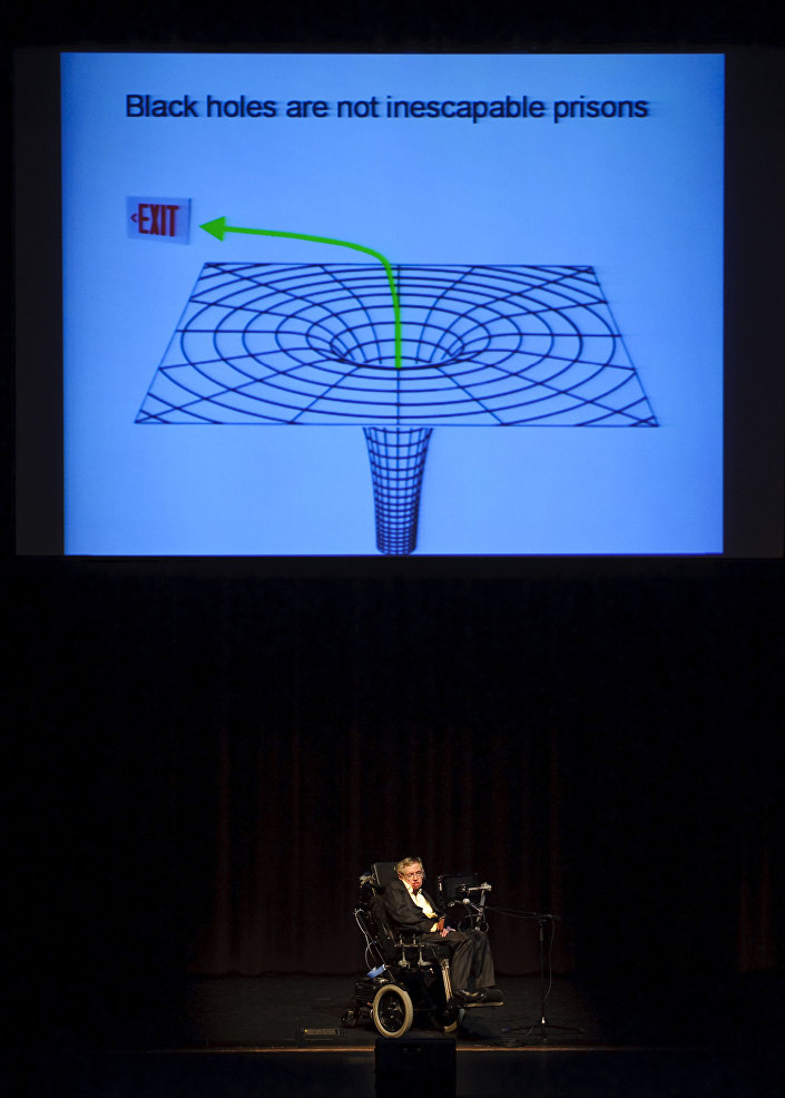 عالم الفيزياء البريطاني الشهير ستيفن هوكينغ خلال محضرة بعنوان خارج الثقب السوداء (Out of a Black Hole)  في تكساس، الولايات المتحدة 5 أبريل/ نيسان 2010