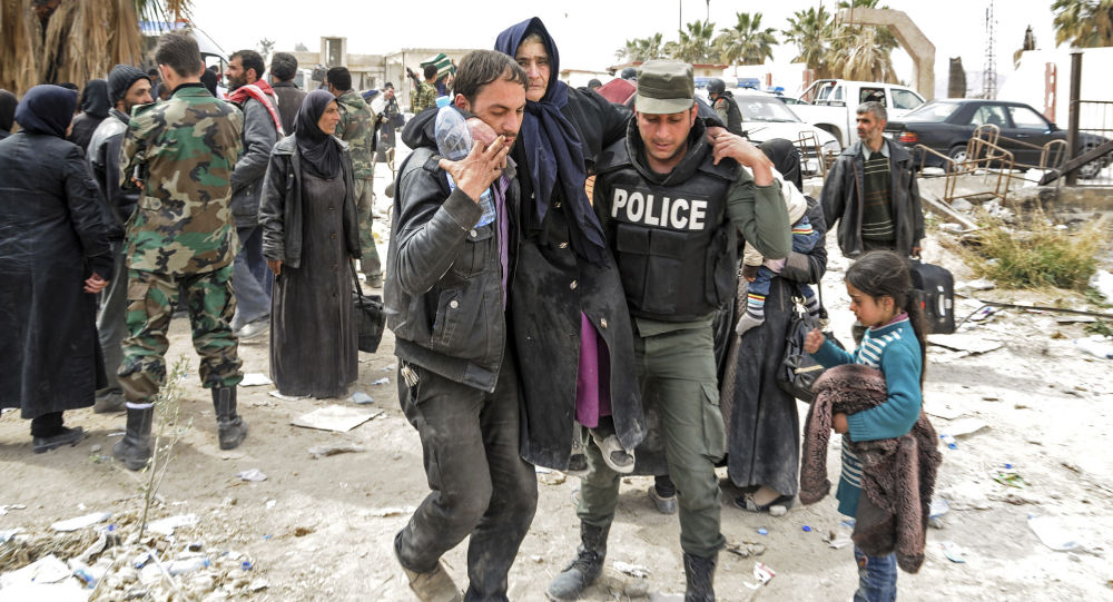 إجلاء المدنيين من الغوطة الشرقية عبر معبر حمورية، سوريا