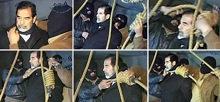 Former Iraqi President Saddam Hussein before execution, 30 December 2006