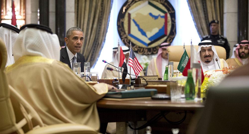 باراك أوباما مع الملك سلمان مع محمد بن سلمان