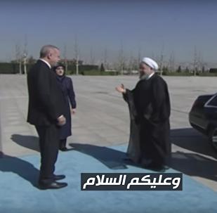 أردوغان وروحاني يتبادلان التحية باللغة العربية