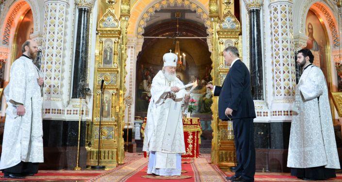 النار المقدسة في كاتدرائية المسيح المخلص في موسكو
