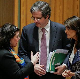 الممثلة الدائمة للولايات المتحدة لدى الأمم المتحدة نيكي هايلي في مجلس الأمن، نيويورك، الولايات المتحدة 13  أبريل/ نيسان 2018