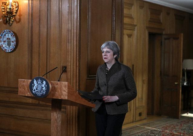 التحالف الثلاثي - مؤتمر صحفي لـ رئيسة الوزراء البريطانية تيريزا ماي حول سوريا، لندن 14 أبريل/ نيسان 2018
