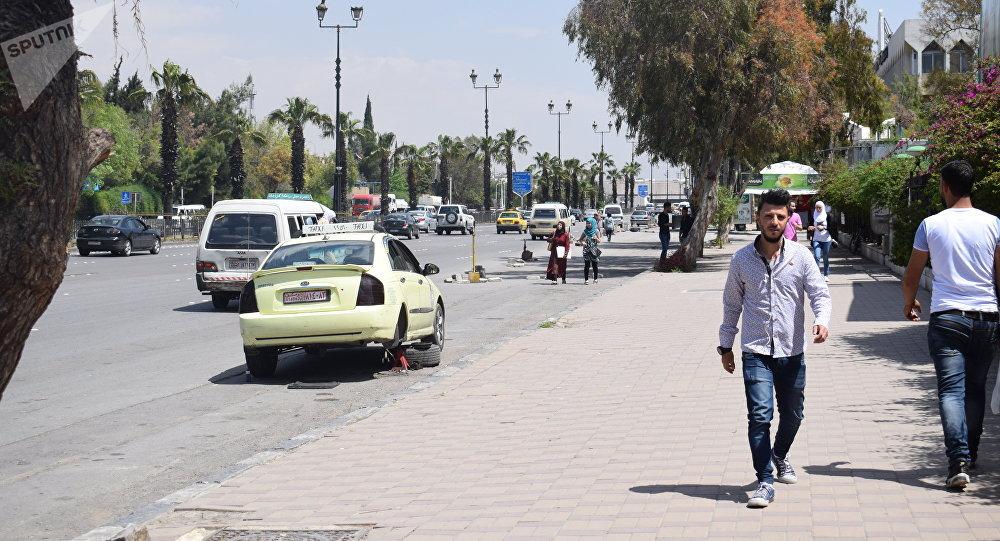الحياة في دمشق بعد هجوم التحالف الثلاثي فجر اليوم، 14 أبريل/ نيسان 2018
