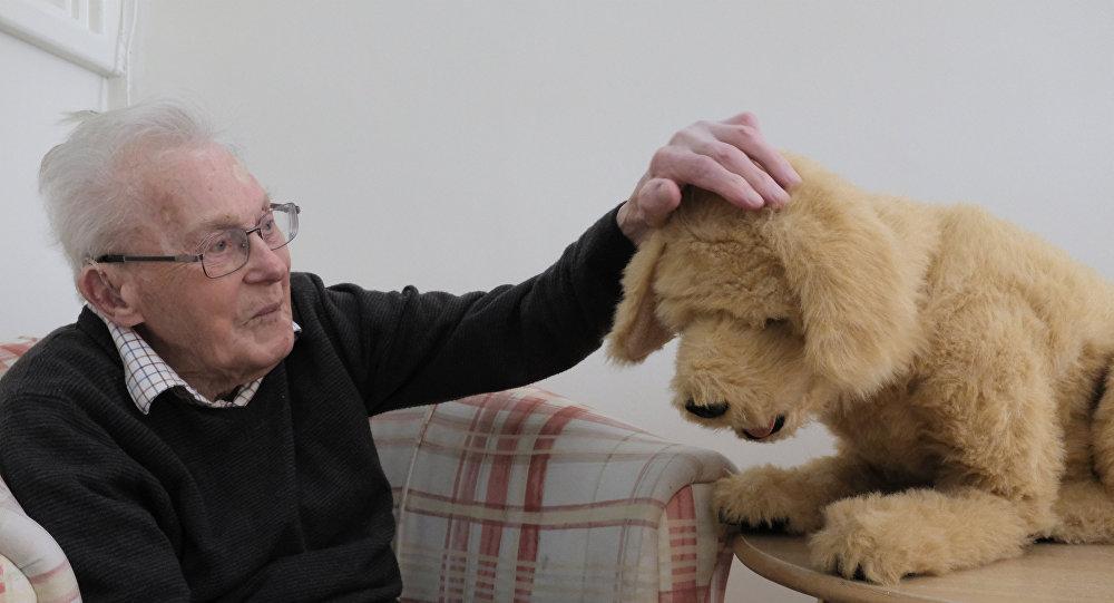 رون جرانثام يتفاعل مع الكلب الآلي بيسكيت في دار رعاية تيمبلتون هاوس