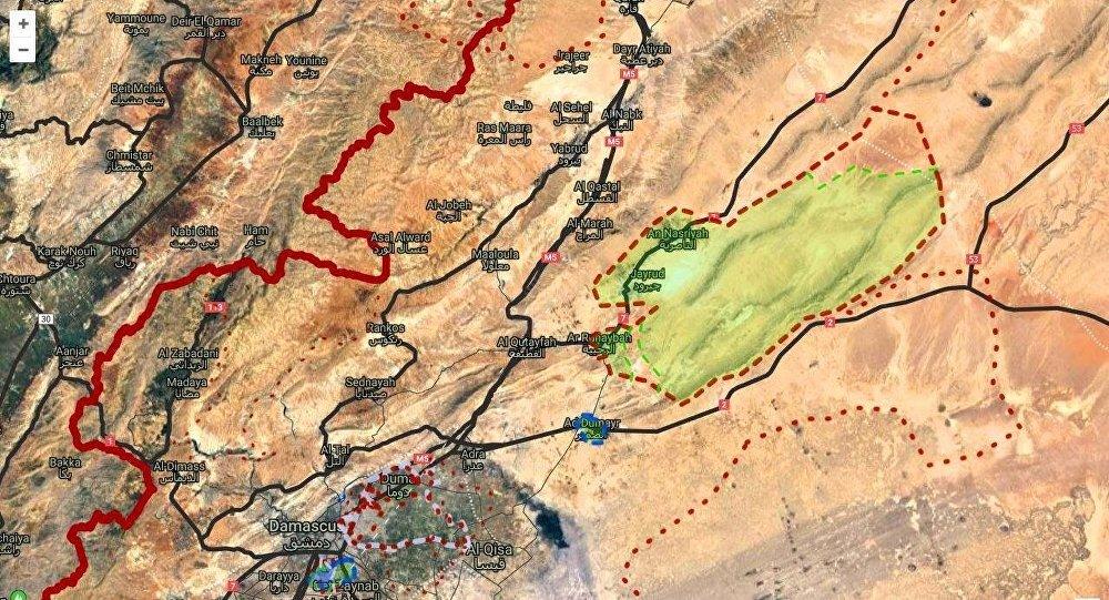 الجيب الذي تسيطر عليها التنظيمات المسلحة في القلمون شمال شرق دمشق