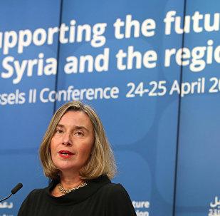 المؤتمر الصحفي الثاني لكل من الممثلة العليا للسياسة الخارجية للاتحاد الأوروبي فيديريكا موغيريني، والمبعوث الأممي الخاص إلى سوريا ستيفان دي ميستورا حول سوريا، 25 أبريل/ نيسان 2018