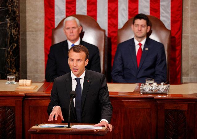 ماكرون يلقي كلمة أمام مجلس الشيوخ الأمريكي