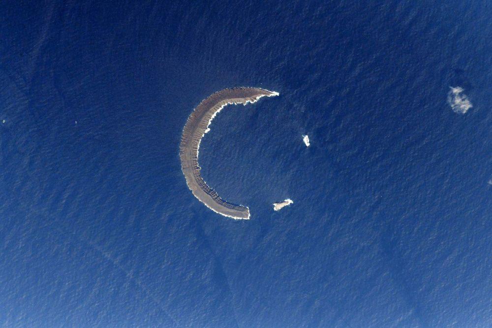 صورة لجزيرة تورتيجا تتواجد في أرخبيل غالاباغوس بالإكوادور، التقطها رائد فضاء الروسي أنطون شكابليروف من محطة الفضاء الدولية