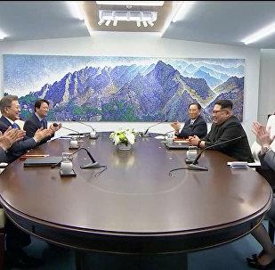 قمة الكوريتين بين الرئيس الكوري الجنوبي مون جاي إن والزعيم الكوري الشمالي كيم جونغ أون
