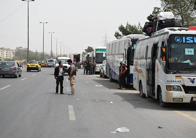 خروج المسلحين من جنوبي دمشق