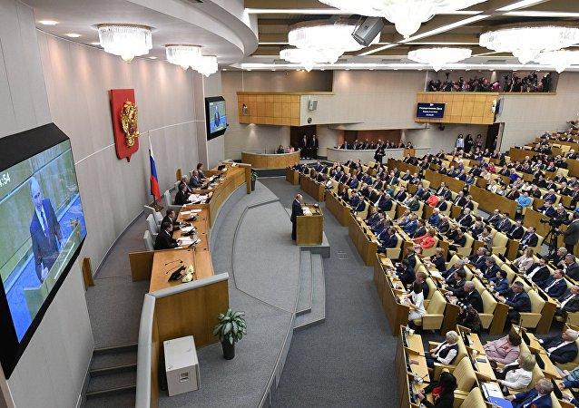 الرئيس الروسي فلاديمير بوتين خلال جلسة مجلس الدوما