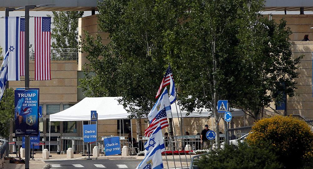 منظر مدخل السفارة الأمريكية الجديدة في القدس، الضفة الغربية 14 مايو/ أيار 2018