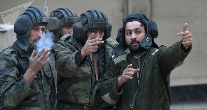 الجيش السوري في مخيم اليرموك، ريف دمشق، سوريا