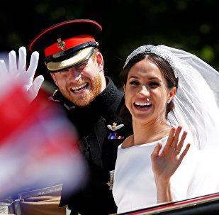 ميغان ماركل ونجل ولي العهد البريطاني الأميرهاري في حفل زفافهما الملكي، 19 مايو/أيار 2018