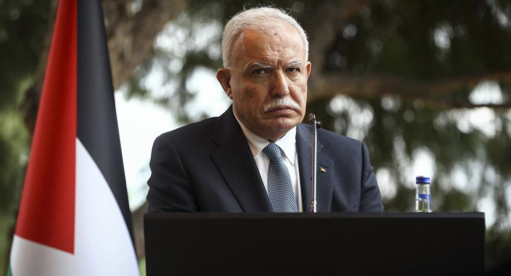 وزير الخارجية الفلسطيني رياض المالكي خلال مؤتمر صحفي في أنطاليا، تركيا، 3 فبراير/ شباط 2018