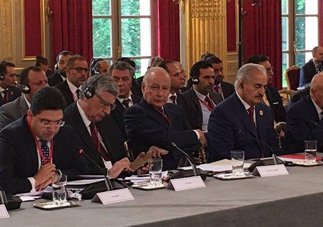 أحمد أبو الغيط في مؤتمر باريس الخاص بليبيا