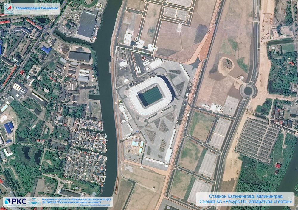 ملعب كالينينغراد أحد ملاعب كأس العالم 2018 من المركبة الفضائية الروسية  Resurs-P