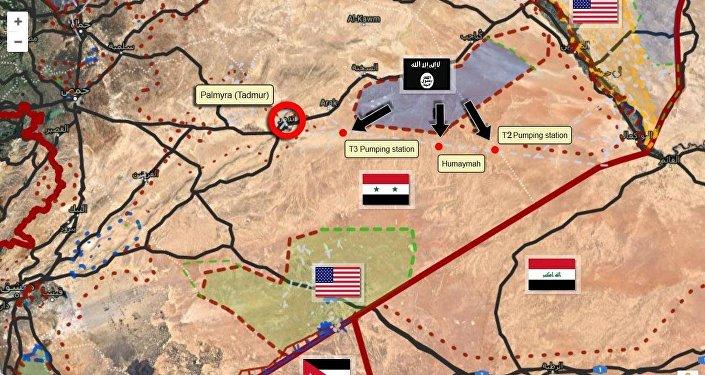 خط الهجمات التي يشنها تنظيم داعش في البادية السورية