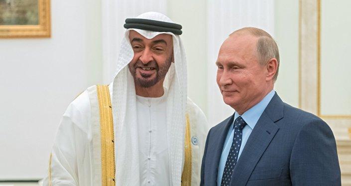 الرئيس بوتين مع أمير أبو ظبي محمد بن زايد آل نهيان