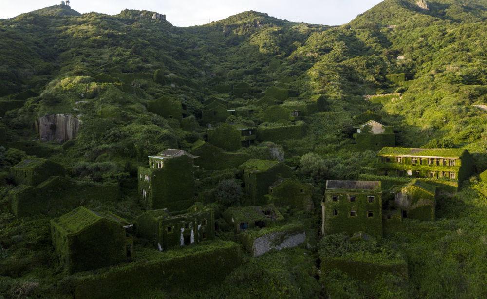 منازل مهجورة مغطاة بالنباتات الكثيفة في قرية هوتوان في جزيرة شينغشان بإقليم تشيجيانغ شرقي الصين، 1 يونيو/ حزيران 2018