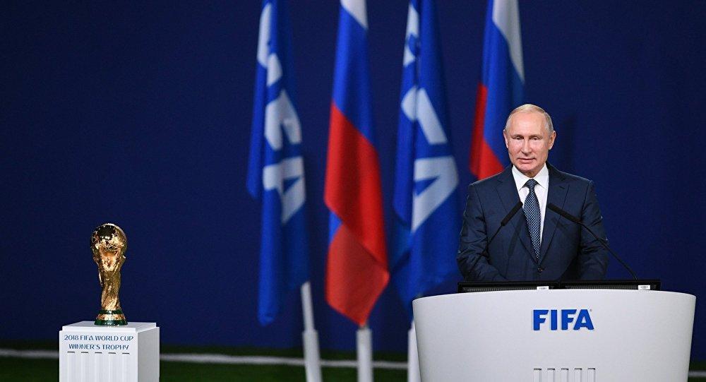 بوتين يلقي كلمة في اجتماع الفيفا الـ68 في موسكو