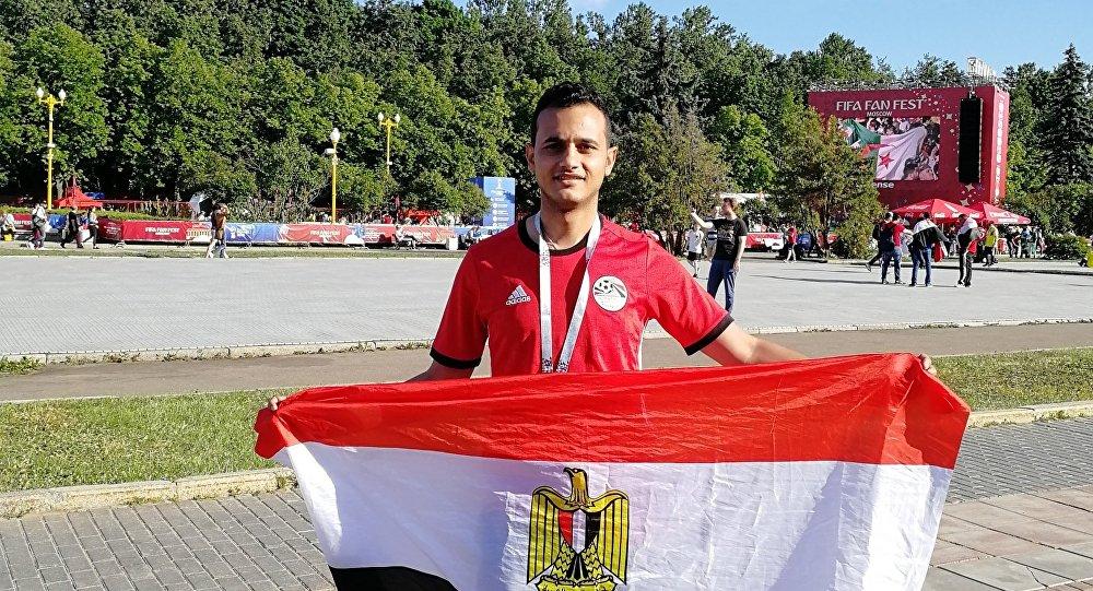 مشجع مصري لمنتخب بلاده في العاصمة الروسية موسكو