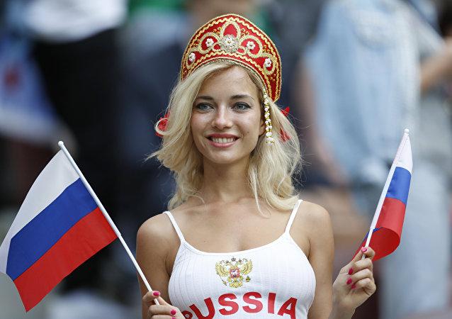 مشجعة في بطولة كأس العالم 2018