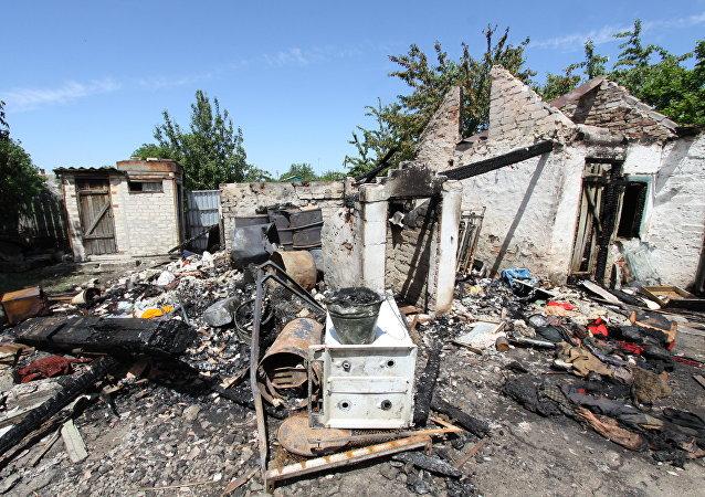 آثار القصف في جمهورية دونيتسك الشعبية