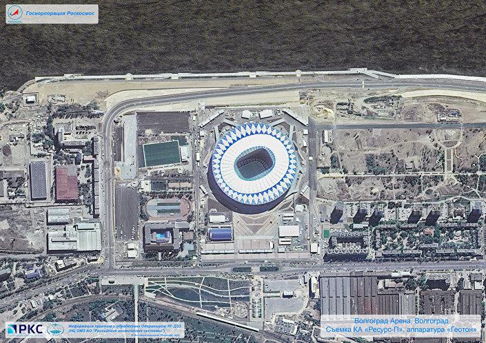 ملعب فولغوغراد أرينا أحد ملاعب كأس العالم 2018 من المركبة الفضائية الروسية Resurs-P