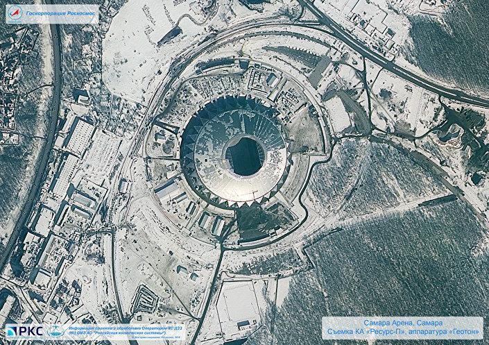 ملعب سامارا أرينا أحد ملاعب كأس العالم 2018 من المركبة الفضائية الروسية Resurs-P