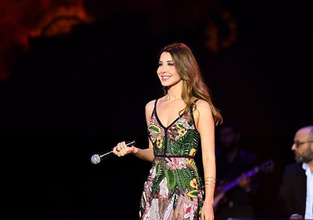 المطربة اللبنانية نانسي عجرم في حفلها بمهرجان موازين في المغرب، 28 يونيو/حزيران 2018