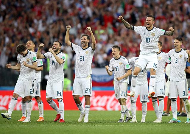 احتفال لاعبي روسيا