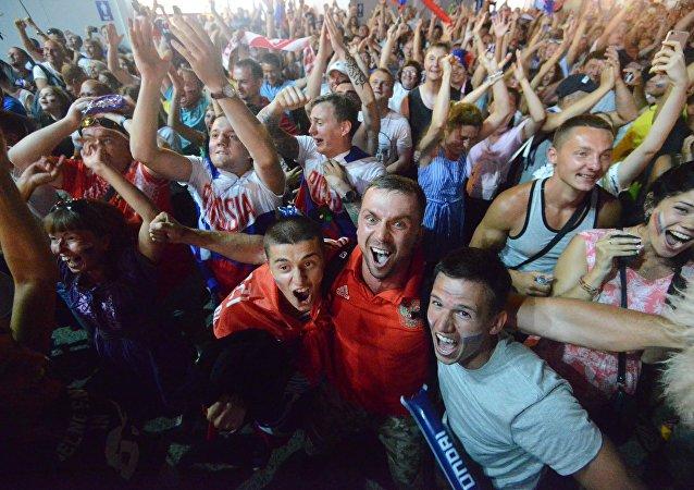 جماهير روسيا في مباراة كرواتيا