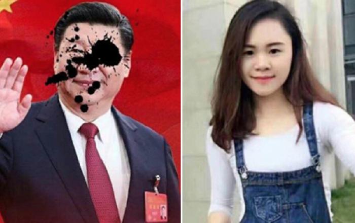 إختفاء الفتاة التي قامت برشق صورة الرئيس الصيني بالطلاء