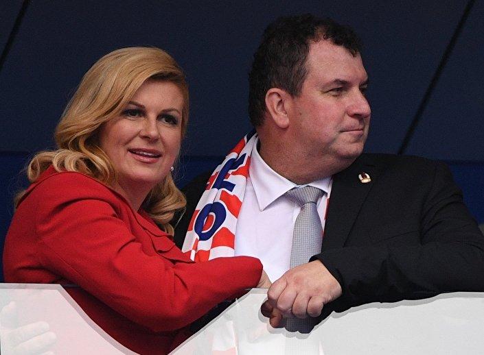 رئيسة كرواتيا خلال المباراة