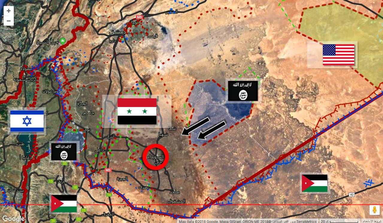 خريطة محدثة تظهر الجيب الداعشي بالصحراء السورية