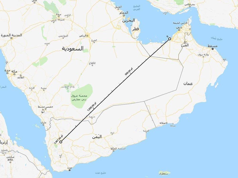المسافة بين اليمن وأبو ظبي