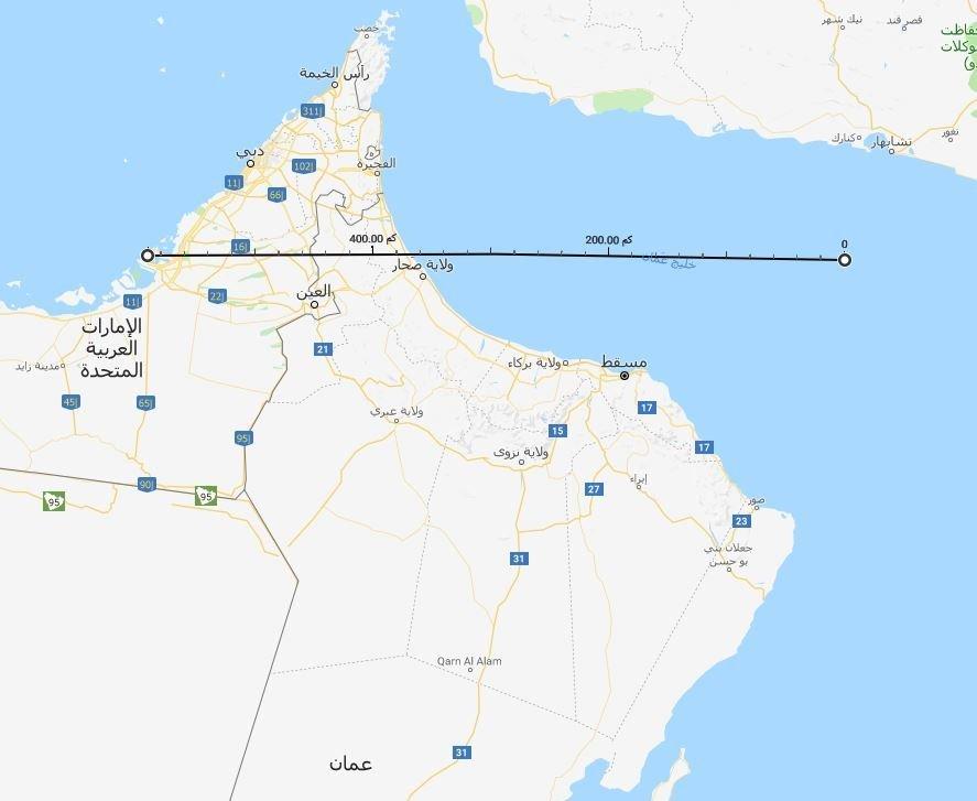 المسافة بين خليج عمان وأبو ظبي