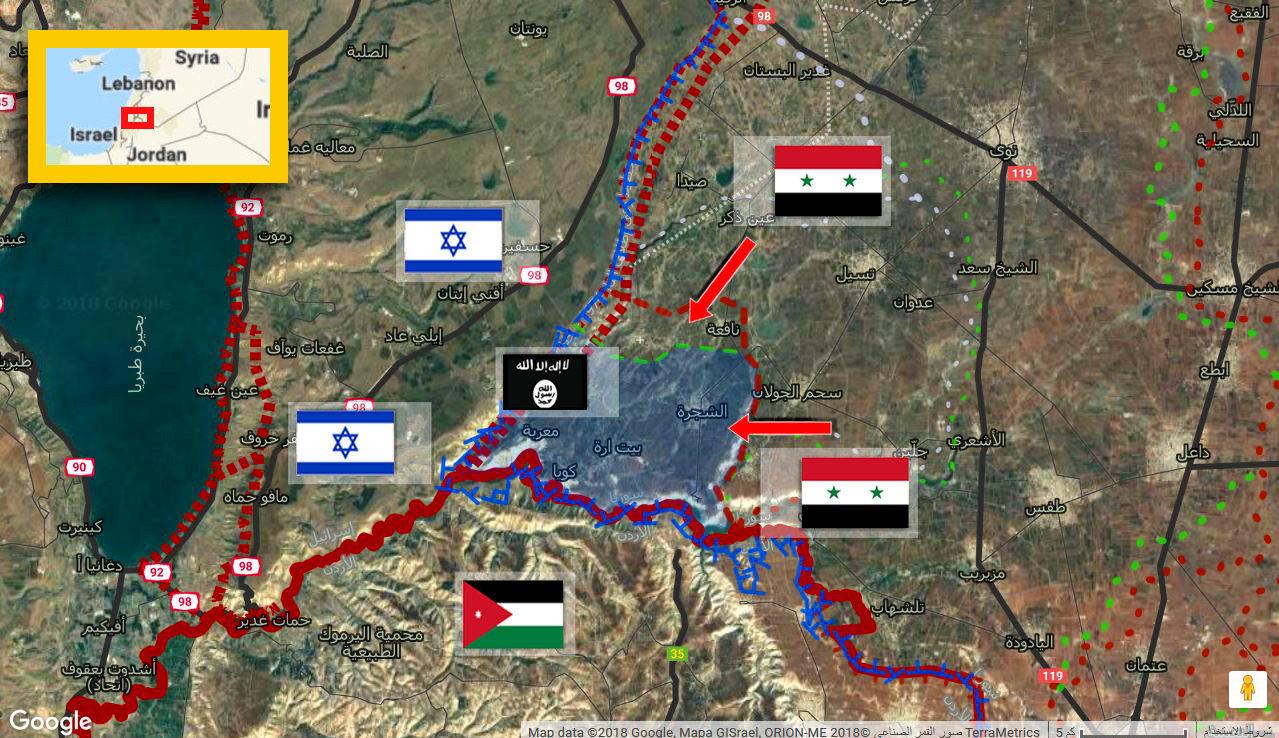 خريطة السيطرة في حوض اليرموك جنوب غرب سوريا