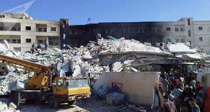 انفجار مستودع ذخيرة للإرهابيين في سرمدا بمدينة إدلب