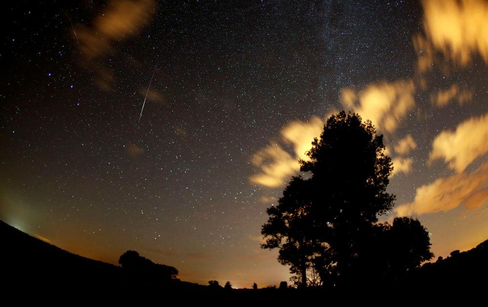 سماء مليئة بالنجوم في ألمانيا أثناء مطر النيازك شهب البرشاويات