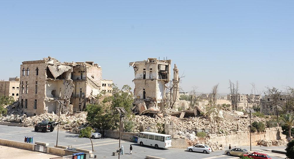 تحت أنقاض هذا المبنى يوجد نفق أراد الإرهابيون تفجيره في قلعة حلب. لقد فشلوا.